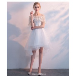 Elegant Front Short Rear Length White Chiffon Party Dress Off The Shoulder Lace-up Cocktail Dress
