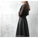 A-line Floor Length Black Satin Lace Evening Dress V-neck Fashion Long Sleeves Party Dress New