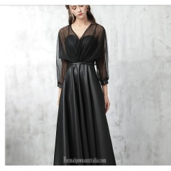 A-line Floor Length Black Satin Lace Evening Dress V-neck Fashion Long Sleeves Party Dress