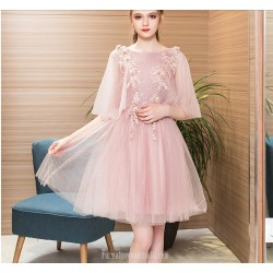 A-line Short Lace-up Bean Paste Color Tulle Lace Cocktail/Party Dress