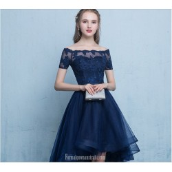 Front Short Rear Length Blue Tulle Prom Dress With Appliques/Ribbons Short Sleeves Off The Shoulder Lace-up Cocktail Dress