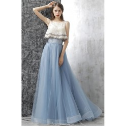 Fashion Sweep Brush Train Lace Up Chiffon Lace Evening Dress With Beaded Appliques