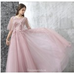 Fashion Sweep/Brush Train Lace-up Bean Paste Color Tulle Lace Evening Dress With Appliques New