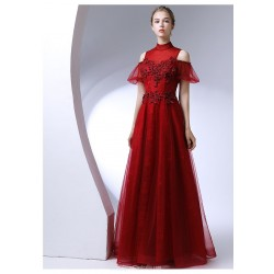 A Line Floor Length High Neck Red Chiffo Evening Dress With Appliques Beaded