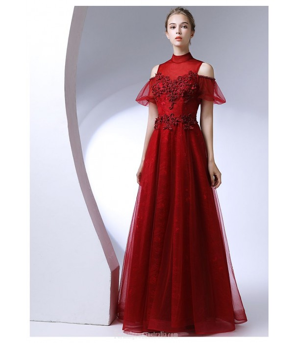 A-line Floor Length High-neck Red Chiffo Evening Dress With Appliques/Beaded New