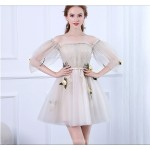 Fashion Short/Mini Tulle Party Dress Off The Shoulder Invisible Zipper Prom Dress With Appliques New