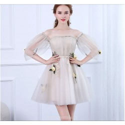 Fashion Short/Mini Tulle Party Dress Off The Shoulder Invisible Zipper Prom Dress With Appliques