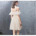 Fashion Short/Mini Illusion-neck Keyhole Back Champagne Cocktail Party Dress New