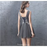 Sexy Short/Mini Illusion V-neck Lace-up Gray Tulle Party Dress With Appliques New