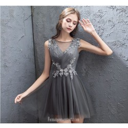 Sexy Short Mini Illusion V Neck Lace Up Gray Tulle Party Dress With Appliques