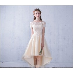 Elegant Front Short Rear Length Champagne Chiffon Lace Prom Dress Off The Shoulder Lace-up Party Dress