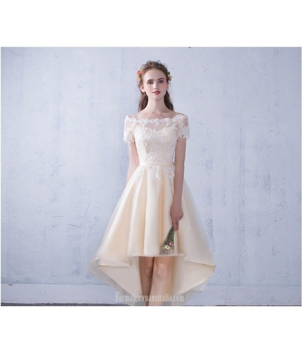 Elegant Front Short Rear Length Champagne Chiffon Lace Prom Dress Off The Shoulder Lace-up Party Dress New