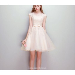 Elegant Short Knee-length Invisible Zipper Champagne Chiffon Cocktail Dress