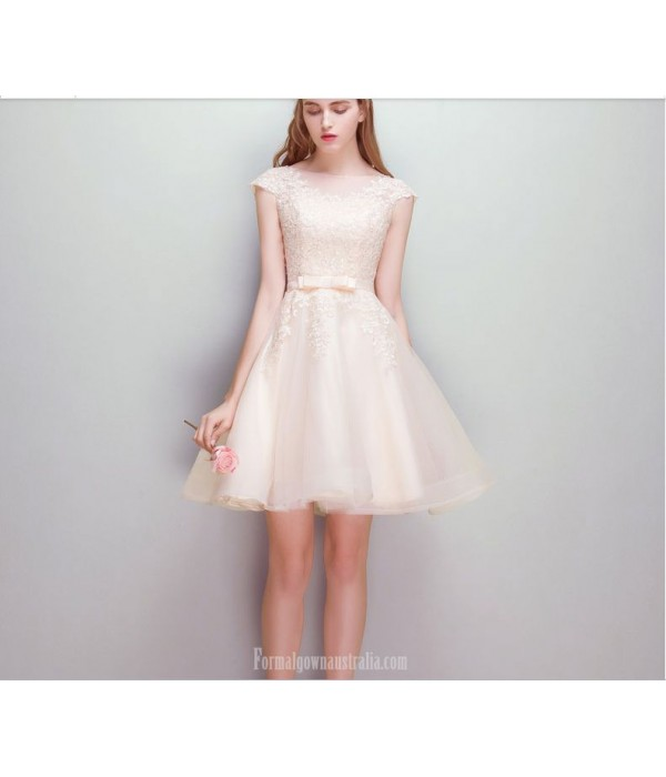 Elegant Short Knee-length Invisible Zipper Champagne Chiffon Cocktail Dress New