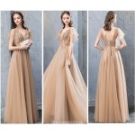 A-line Floor-Length Deep Champagne Evening Dress Deep V-neck Lace-up Prom Dress With Appliques/Sequined New