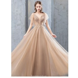 A Line Floor Length Deep Champagne Evening Dress Deep V Neck Lace Up Prom Dress With Appliques Sequined