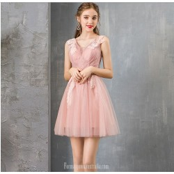 A Line Short Pink Tulle Semi Formal Dress V Neck Zipper Party Dress With Appliques Beaded
