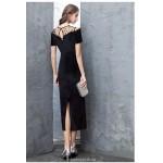 Sheath/Column Black Velvet Lace Evening Dress Fashion Spot Collar Short Sleeves Zipper Party Dress With Slit New