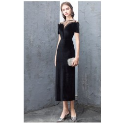 Sheath/Column Black Velvet Lace Evening Dress Fashion Spot Collar Short Sleeves Zipper Party Dress With Slit