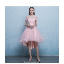 Front Short Rear Length Off The Shoulder Pink Chiffon Lace Cocktail Party Dress With Appliques