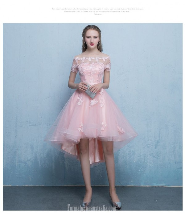 Front Short Rear Length Off The Shoulder Pink Chiffon Lace Cocktail/Party Dress With Appliques New