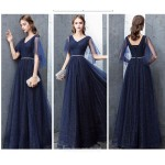 A-line Floor-length Dark Blue Evening Dress V-neck Lace-up Sequined Sparkle & Shine Dress New