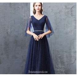 A Line Floor Length Dark Blue Evening Dress V Neck Lace Up Sequined Sparkle &Amp; Shine Dress