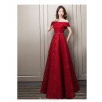 Contemporary Floor-length Red Lace Evening Dress Off The Shoulder Lace-up Engagement Dress With Sequines New