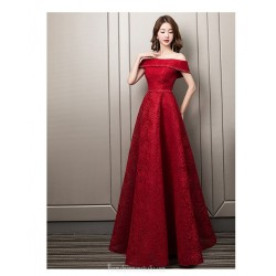 Contemporary Floor-length Red Lace Evening Dress Off The Shoulder Lace-up Engagement Dress With Sequines