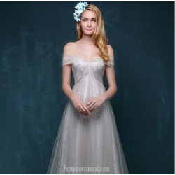 Elegant Sweep Brush Train Tulle Prom Dress Off The Shoulder Lace Up With Bowknot