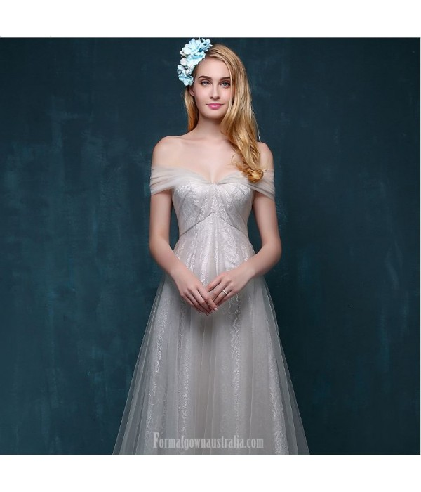 Elegant Sweep/Brush Train Tulle Prom Dress Off The Shoulder Lace-up With Bowknot New