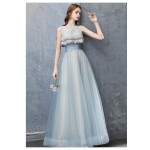 Fashion Floor-length Haze Lace-up Hollow Back Blue Tulle Evening Dress With Appliques/Sequines New