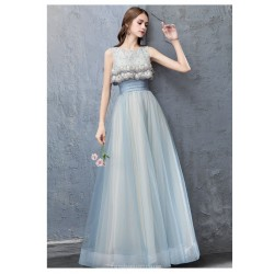 Fashion Floor Length Haze Lace Up Hollow Back Blue Tulle Evening Dress With Appliques Sequines