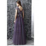 Fashion Floor-length V-Back Lavender Tulle Prom Dress With Appliques New