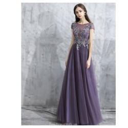 Fashion Floor-length V-Back Lavender Tulle Prom Dress With Appliques