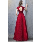 A-line Floor-length Red Lace Evening Dress Fashion Stand Collar Lace-up Hollow Back Cap Sleeves Engagement Dress With Sequines New