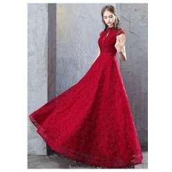 A-line Floor-length Red Lace Evening Dress Fashion Stand Collar Lace-up Hollow Back Cap Sleeves Engagement Dress With Sequines