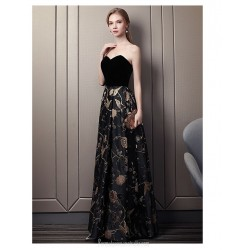 Dignified Atmosphere Floor-length Sweetheart Evening Dress Black Gold Lace Satin Party Dress