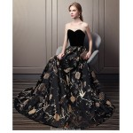 Dignified Atmosphere Floor-length Sweetheart Evening Dress Black Gold Lace Satin Party Dress New