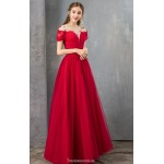 Simple and Generous Floor-length Red Evening Dress Illusion-neck Short Sleeves Lace-up Engagement Dress New