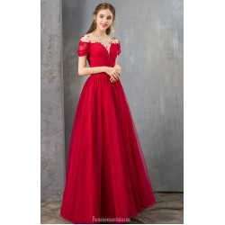 Simple and Generous Floor-length Red Evening Dress Illusion-neck Short Sleeves Lace-up Engagement Dress