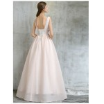 Elegant Floor-length Ivory Chiffon Evening Dress Lace-up Backless Party Dress With Black Embroidery New