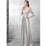 Sheath/Column Sweep/Brush Train Silver Satin Evening Dress Illusion-neck Hollow Back Lace-up Party Dress With Sequines New