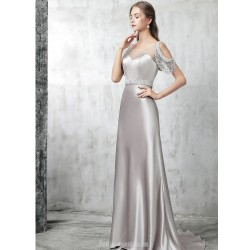 Sheath Column Sweep Brush Train Silver Satin Evening Dress Illusion Neck Hollow Back Lace Up Party Dress With Sequines
