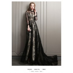 High End Atmosphere Court Train Black Lace Tulle Evening Dress Lace Collar Long Sleeves Invisible Zipper Party Dress