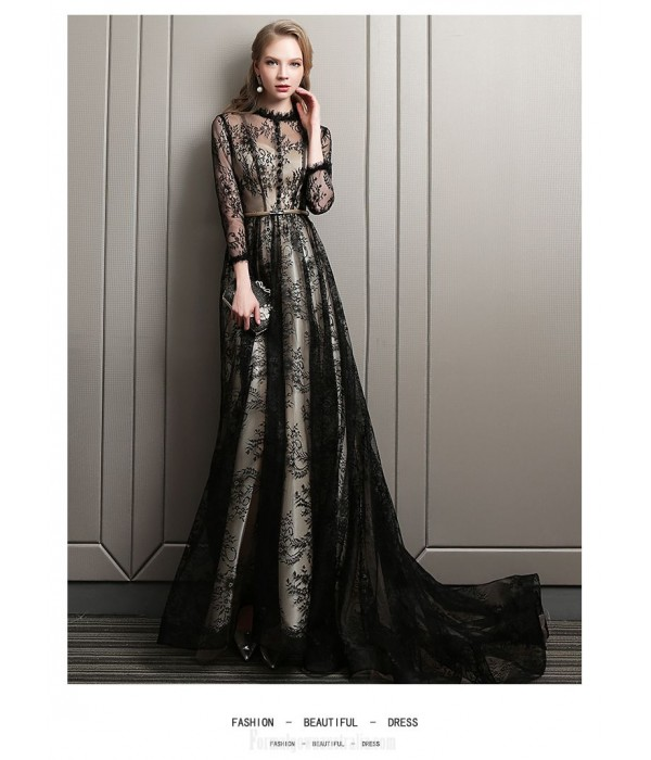 High end Atmosphere Court/Train Black Lace Tulle Evening Dress Lace Collar Long Sleeves Invisible Zipper Party Dress New