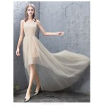 Fashion Front Short Rear Length Evening Dress Spaghetti Straps Zipper Party Dress New