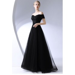 Sexy Floor Length Off The Shoulder Black Chiffon Evening Dress With Appliques