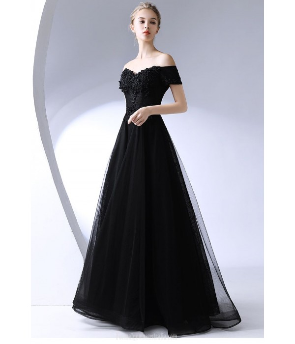 Sexy Floor-length Off The Shoulder Black Chiffon Evening Dress With Appliques New