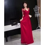 Fashion Floor-length Red Lace Chiffon Evening Dress Long Sleeves Invisible Zipper Engagement Dress With Pleats New